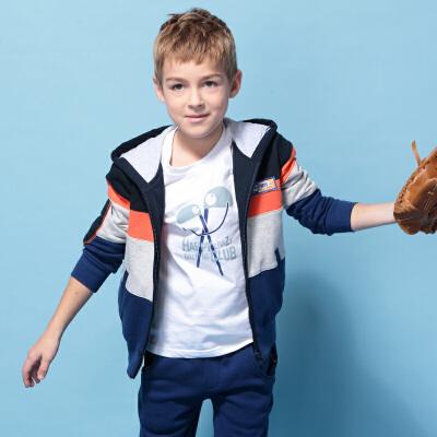 英格里奥春秋青少年中大童春款新装男童儿童拼接卫衣运动套装LLB846年终大促 满200减100