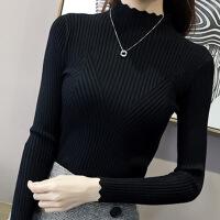 春秋冬装新款黑色套头高领打底针织衫女长袖修身加绒加厚毛衣女