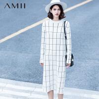 【AMII 超级品牌日】AMII[极简主义]冬长袖黑白方格纹提花大码针织连衣裙11571807