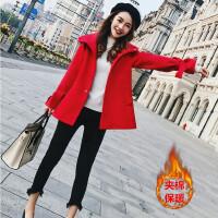 毛呢大衣女2018新款冬季娇小矮个子150155显高中长款呢子外套 红色