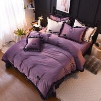 秋冬保暖加厚水晶绒四件套珊瑚绒兔兔绒被套法莱绒公主风床上用品定制 紫色 简约(绒)~紫色