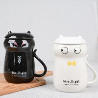 情侣款杯子个性水杯女陶瓷杯带盖勺简约猫咪对杯3D立体马克杯
