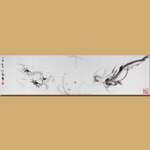 """""""白石遗风""""江苏省美术家协会会员 水墨名家 伏艺先生作品――荷塘34*138"""