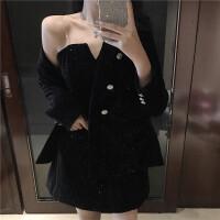 韩版复古百搭丝绒修身气质外套时尚套装性感v领吊带连衣裙两件套