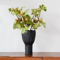 【新品】北欧现代简约艺术手工陶瓷花瓶摆件黑色细口花插客厅玄关装饰茶几 +无花果6支