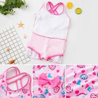 儿童泳衣女童连体公主裙式宝宝可爱游泳衣女孩学生