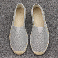 老北京帆布鞋男亚麻底草编麻布鞋一脚蹬懒人渔夫鞋中国风休闲单鞋