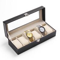 新品手表收纳盒开窗皮革首饰箱手表包装展示盘子饰品手链盘手表架 6位手表盒