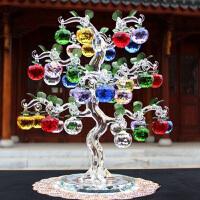 新年礼物夜圣诞节礼品 人造水晶苹果树新房摆件工艺品 结婚生日送家人朋友 中式家居