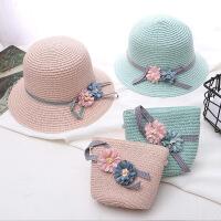 夏季薄款女宝宝遮阳凉帽可爱公主沙滩帽儿童渔夫帽女童草帽