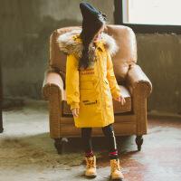 童装新款冬装儿童棉衣中长款女童棉袄外套中大童女孩加厚 黄色 110cm