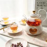 英式下午茶茶具套装 陶瓷玻璃花茶壶加热煮水果茶壶 花茶杯家用欧式