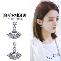 韩国东大门新款耳钉 女银网红气质耳环 扇形无耳洞耳饰防过敏耳夹