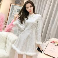 裙子女秋装2018新款韩版气质蕾丝打底裙秋冬加绒中长款长袖连衣裙 白色