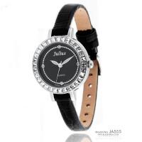 2018年新款 聚利时 时尚水晶女表 蟒纹漆皮配皮表带女士手表 JA-555 黑色