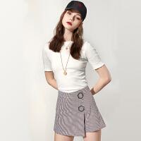 诗凡黎t恤女白色短袖韩版夏季新款圆领打底白体恤女内搭上衣