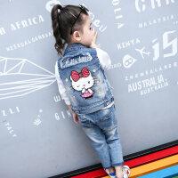 女童牛仔衣外套春2018新款韩版公主洋气潮男童背心小女孩宝宝马甲