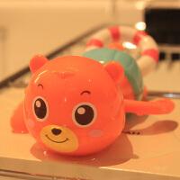 洗澡戏水玩具游泳拉绳划水拉线上弦上劲发条玩水玩具婴幼儿漂浮