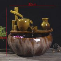 景德镇陶瓷鱼缸金鱼缸乌龟缸睡莲缸陶瓷鱼盆金鱼盆创意水族箱 细水长流30cm*32cm