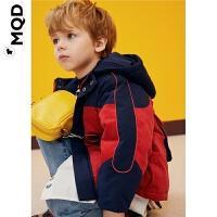 MQD童装小童拼接撞色19冬儿童连帽后背大口袋宝宝灯芯绒外套