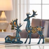 玄关装饰摆件鹿饰品欧式麋鹿客厅酒柜电视柜招财摆设创意开业礼品抖音