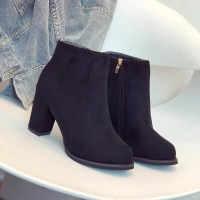 秋季冬季新款粗跟短靴女瘦黑色高跟鞋马丁靴女英伦风加绒靴子   批量拍下不发货