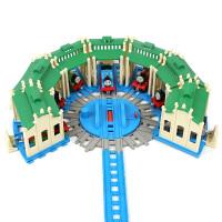 托马斯小火车提茅斯机房车库转车台转盘套装轨道配件儿童玩具 三机房加转车台带轨道 (含轨道无车头) 官方标配