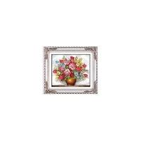 绣好的手绣十字绣成品粉红玫瑰花瓶花卉客厅卧室餐厅出售