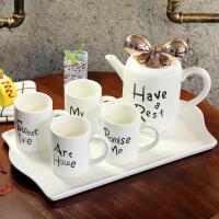 【热卖新品】欧式陶瓷创意水具冷水壶茶具耐热客厅水杯咖啡杯茶杯家用杯子套装 白色 蝴蝶结水具