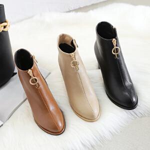 ZHR2018冬季新款前拉链网红短靴子女鞋粗跟裸靴韩版百搭高跟踝靴