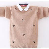 男童毛衣套头潮洋气秋冬款中大童男孩保暖衣假两件针织衫