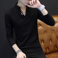 男士T恤长袖V领上衣服小衫 2018秋装韩版修身加绒打底衫潮流卫衣