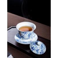 景德镇 陶瓷器 功夫茶具 三才碗手绘盖碗茶杯 手工泡茶碗敬茶杯 竹影清风盖碗