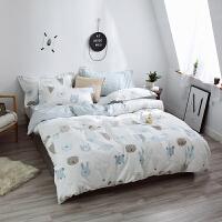 伊迪梦家纺 纯棉夏凉床单款式三四件套简约时尚床上用品 高支高密全棉斜纹活性单人双人床LK413
