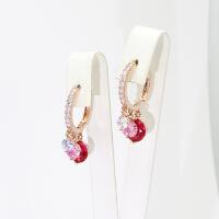 韩国微镶锆石水晶气质三色撞色闪耀百搭耳扣网红ins耳环耳饰