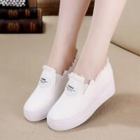 春季新款帆布鞋女韩版内增高小白鞋一脚蹬套脚懒人厚底松糕休闲鞋