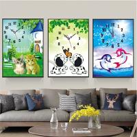新款5D钻石画点钻十字绣小幅钟表卡通猫咪儿童客厅现代钻石绣小狗65x50厘米不含钟图片价