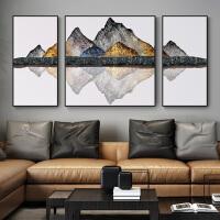 沙发背景墙装饰画客厅背有靠山大幅新中式办公室招财风水三联挂画