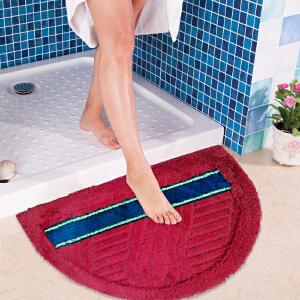 半圆高低毛植绒地垫浴室玄关卧室飘窗多功能防滑地垫40*63CM