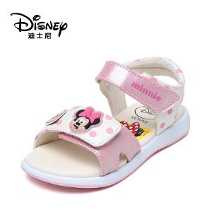 【达芙妮超品日 2件3折】Disney/迪士尼夏季甜美米奇波点露趾魔术贴女童凉鞋