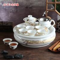 【好店】潮州10寸陶瓷青花瓷骨瓷客厅家用4人整套圆形功夫茶具带茶盘套装 11件