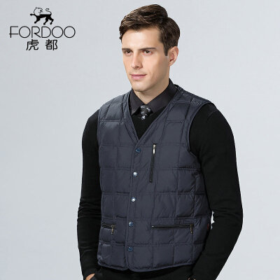 满299-200 正常发货 虎都羽绒棉马甲男装保暖棉背心扣子青中老年商务轻便无袖外套87001 高密度羽绒棉填充,紧致保暖,多口袋设计