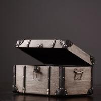 美式乡村复古铝皮木箱子家居样板房软装饰品摆件设服装店陈列道具