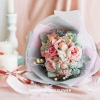 手捧永生花DIY材料包情人节玫瑰花束礼盒保鲜干花结婚礼生日礼物