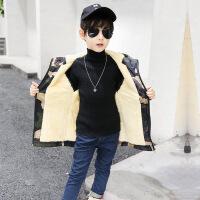 童装男童迷彩外套秋冬装新款韩版中大儿童棉衣男孩加绒潮 迷彩加绒 110收藏加购送