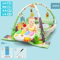 婴儿玩具0-1岁脚踏钢琴健身架新生初生男宝宝女孩3-6-12个月5 抹茶绿 遥控版
