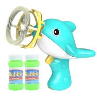 儿童泡泡玩具 星珀儿童风扇海豚泡泡枪泡泡机 七彩泡泡机抖音同款 蓝色装带两瓶液(含电池两节)
