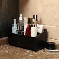 化妆品收纳盒梳妆台桌面首饰整理盒抽屉式护肤品收纳架竹木