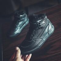 回力童鞋旗舰店2019冬季新款男童高帮加绒保暖小白鞋魔术贴鞋子