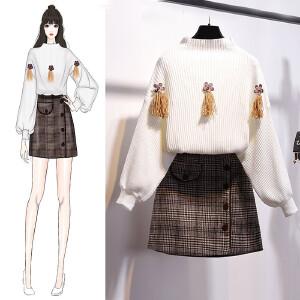 VIPEBUY 小清新甜美针织套装裙2018冬季新款气质宽松灯笼袖保暖毛衣毛呢半身裙两件套潮